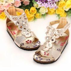 Metallic Gold Flower Girl Girls Summer Pageant Dress Sandals Shoes SKU-133399