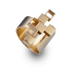 unique gold rings -  asymmetry architectural jewelry  - adjustable urban ring-Asymetrical ring