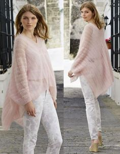 This Pin was discovered by Нат Poncho Knitting Patterns, Knitted Poncho, Knitted Bags, Look Blazer, Angora, Mohair Sweater, Kurta Designs, Knit Dress, Knitwear