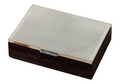 Graziani Mahogany box with striped sterling silver cover -- View the Italian made item in details by clicking the image