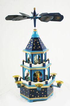 Vintage Duits kerst blauw geboorte piramide Carrousel  2 Tier