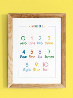 A cute and colourful poster that can be used as a teaching tool. Great for a nursery, playroom or classroom. This is a fun way to sneak in some educational docor into your home. It can be used as a cute poster or as a printout to help little ones learn their numbers. Can be easily printed at home or your local print shop. Comes in multiples sizes and a custom sizing can be requested. Learning Numbers, Learning Tools, Number Chart, Playroom Art, Numbers For Kids, Cute Poster, Classroom Posters, Home Schooling, Teaching Kids