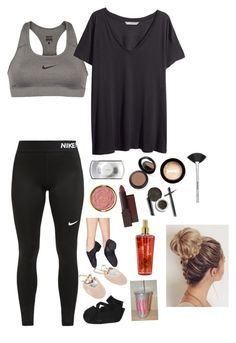 """drill team auditions"" by halseytrashh ❤ liked on Polyvore featuring NIKE, H&M, MAC Cosmetics, Milani, Burt's Bees, ELF Cosmetics, jane and Victoria's Secret"