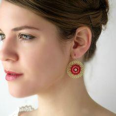 Big Round red earrings, Mandalaearrings, Boho style earrings, Boho chic earrings for women gift ideas, Beaded jewelry Bar Stud Earrings, Red Earrings, Bridal Earrings, Beaded Earrings, Etsy Earrings, Beaded Jewelry, Boho Stil, Bohemian, Sapphire Color