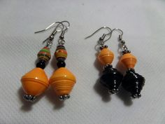 Paper bead earrings for halloween