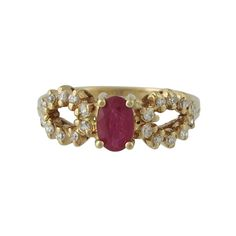 Vintage 14K Yellow Gold Ruby and Diamond Ring, c. 1970s. $395