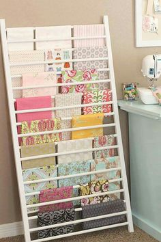 DIY Craft Room Ideas and Craft Room Organization Projects - Crib Side Repurposed into Fabric Storage - Cool Ideas for Do It Yourself Craft Storage - fabric paper pens creative tools crafts supplies and sewing notions Sewing Room Storage, Sewing Room Organization, My Sewing Room, Craft Room Storage, Fabric Storage, Organization Ideas, Storage Ideas, Craft Rooms, Fabric Display