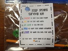 Standardized Testing Survival Kit - so cute!