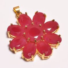 18 Cts.Vermeil Gold Plated Faceted Ruby Handmade Pandant Jewelry SR111 #Handmade