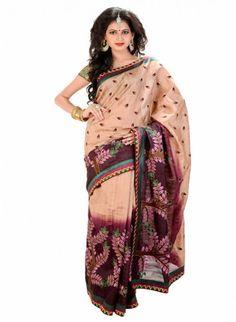 Ethnic Eggplant & Tan Brown Color Embroiderey #Saree With Resham Work #designersarees #clothing #womenswear #womenapparel #ethnicwear