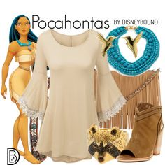 Pocahontas by leslieakay on Polyvore featuring Dolce Vita, Posse, Kenneth Jay Lane, Chan Luu, Jana Reinhardt, Disney, disney and disneybound