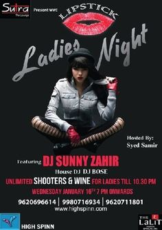 Lipstick Ladies Night, Sutra - The LaLiT Ashok, Bangalore