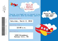 Airplane Ticket Birthday Invitation AIRPLANE PILOT TICKET on Etsy, $10.50