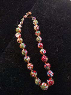 Venetian Beaded Neckace, Knottted, Colorful with Lots of Reds by MySimpleDistractions on Etsy