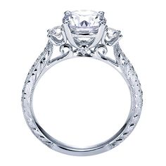 14k White Gold Diamond 3 Stones Engagement Ring | Gabriel & Co NY | ER7290W44JJ