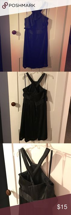 EUC Black BCBG Halter/Cross Strap Back Dress Excellent condition black BCBG dress. Cute ruffle front, would be great for a wedding or a semi formal event. Smoke free home. Last picture is light to show the front ruffle. BCBG Dresses Mini