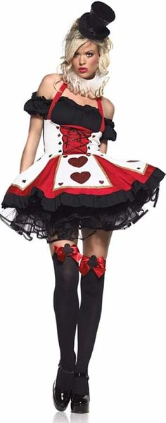 Costume includes dress and neckpiece. Stand out in this sexy Queen of Hearts costume. Great for an Alice in Wonderland theme party!