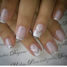 Wedding nails for bride shellac twists 55 ideas French Manicure Gel Nails, Manicure Nail Designs, French Nails, Elegant Nails, Stylish Nails, Bride Nails, Wedding Nails, Pink Holographic Nails, Lace Nails