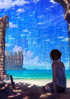 Kai Fine Art is an art website, shows painting and illustration works all over the world. Fantasy Places, Fantasy World, Fantasy Art, Dreamland, Wow Art, Fantasy Landscape, Noragami, Anime Scenery, Ghibli