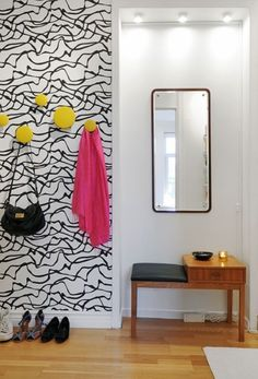 Funky home decor - Truly sensational retro styling suggestions. Pleasant pin example id 7260240502 classified in category funky home decor wall papers, imagined on 20190128 Closet Wallpaper, Hallway Wallpaper, Hallway Walls, Wallpaper Decor, Modern Wallpaper, Geometric Wallpaper, Interior Design Blogs, Interior Design Inspiration, Design Ideas