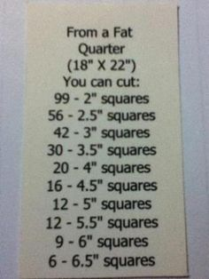 Fat Quarter Square Yields