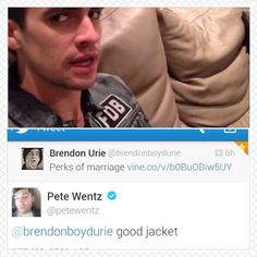 I noticed that jacket in one of his vine and my first thought was 'is that a Fall Out Boy Jacket? Brendon just got a whole lot more awesome'