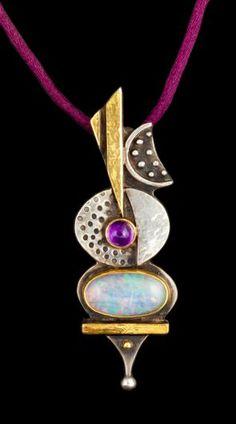LL Pendentif Citrine - Linda Ladurner - silver, gold, opal and amythyst #opalsaustralia