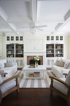Interior house design room design decorating before and after home design design Coastal Living Rooms, Living Room White, Home Living Room, Living Room Designs, Living Room Decor, Living Spaces, Coastal Cottage, Coastal Style, Cottage Living