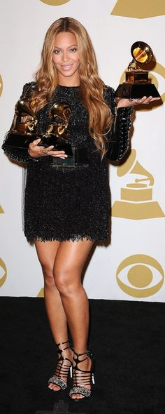 Beyonce finished the evening in a sparkling mini dress at the Grammys.