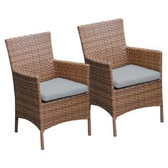 TK Classics Laguna Outdoor Dining Chairs - Set of 2 with 4 Cushion Covers Gray / Wheat - TKC093B-DC-GREY