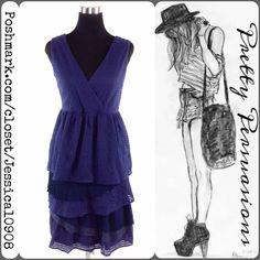 Navy Textured Tiered Ruffle Sleeveless Dress