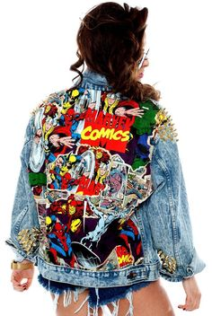 $220Sick oversized acid wash denim jacket featuring a huge Marvel comical panel on the back and gold cone studs scattered on shoulder. Denim wash will vary slightly from picture. Model is wearing size S/M Want these without studs? Use Special instruction box to indicate your request