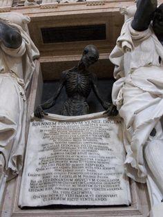 Basilica di Santa Maria Gloriosa dei Frari - Venice, Italy - Doge Giovanni Pesaro Monument Skeleton