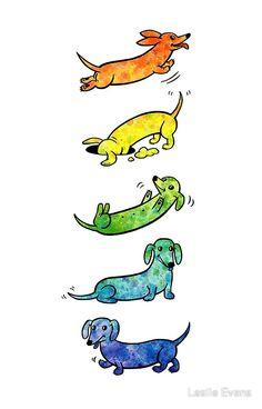 Watercolor Dachshund Watercolor Dachshunds by Leslie Evans Dachshund Funny, Arte Dachshund, Dachshund Puppies, Dachshund Love, Dogs And Puppies, Daschund, Dachshund Drawing, Fu Dog, Weenie Dogs