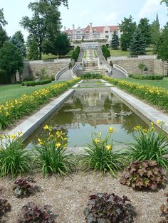 "The main house, cascades, and gardens of ""Immergrün"", Charles M. Schwab's retreat in Loretto, PA"
