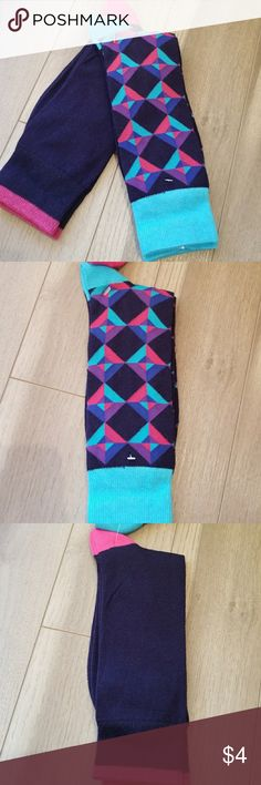 NWOT Men's Cotton Blend Socks 2 Pair of New Without Tags Soft Cotton Blend Men's Socks.  Fits 7-11 Shoe Size 75% Cotton 22% Polyester 3% Spandex  Great fit and retention. 1-pair of navy geo pattern with aqua, blue, purple and fucshcia accents and 1-pair of solid navy with fucshcia heel and cuff tipping. Do not buy retail when you can get men's socks at this price. Stock up and save with discounts for multiple items from my closet and save on shipping charges. I.Love.Socks. Underwear & Socks
