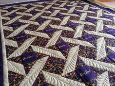 """Kelly Cline Quilting: A Very Feathery, """"Crown Royal"""" Quilt Crown Royal Quilt, Crown Royal Bags, Royal Crowns, Log Cabin Quilts, House Quilts, Fabric Painting, Fabric Art, Feather Crown, Machine Quilting Designs"""