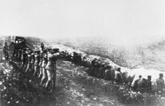 This degraded photograph was taken off a German officer who had been killed on the Eastern Front, and is one of the photographs of the Babi Yar massacre. It shows a German firing squad shooting Soviet civilians in the back, as they sit before their own dug graves in the infamous ravine in teh Ukrainian capital of Kiev.  Between 1941 and 1942, historians estimate that 100,000-150,000 Soviet POWs, communists, gypsies, Ukrainian nationalists, civilians and Jews were executed in the location.