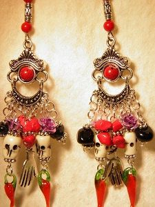 Artisan Hand Crafted Day of the Dead Ornate Earrings with Hand Carved Bone Skulls, Onyx & Coral Chips, and Frida Kahlo Style Pewter Hand Charms by MelancholyMind on Etsy