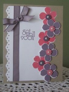 9 ribbon with pearls Handmade Get Well Soon Card