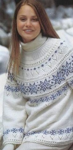 Gorgeous in some nice Lopi yarns.although I might die from overheating! Fair Isle Knitting Patterns, Fair Isle Pattern, Knitting Designs, Knit Patterns, Gros Pull Mohair, Norwegian Knitting, Icelandic Sweaters, Knit Basket, Knit Fashion