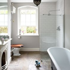 If you're looking for bathroom inspiration, you've come to the right place. Browse our pick of the best bathroom ideas for modern, country and traditional schemes. Slate Bathroom, Modern Bathroom Tile, New Bathroom Ideas, Bathroom Tile Designs, Bathroom Windows, Bathroom Pictures, Bathroom Layout, Bathroom Inspiration, Bathroom With Window