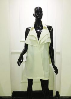 Dress with draped layer collar by No'mi