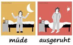 müde_ausgeruht_Adjektive_Deutsch_deutschlernerblog