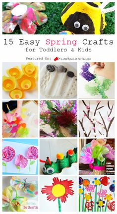 15 EASY SPRING CRAFTS: Perfect for toddlers, preschoolers, and creative kids (flowers, trees, bugs… Valentine Crafts For Kids, Crafts For Kids To Make, Easter Crafts, Diy Crafts For Kids, Arts And Crafts, Hand Crafts, Kids Diy, Preschool Crafts, Spring Toddler Crafts