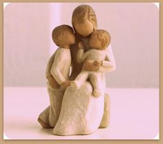 "Quietly Willow Tree Figurine: Quietly encircled by love"" By Susan Lordi. Buy now at the Shabby Shed Willow Tree Engel, Willow Tree Figuren, Willow Figurines, Willow Statues, Hand Carved, Hand Painted, Carved Wood, Ceramic Art, Ceramics"