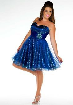 fce7c6b6cf0 Ball Sweetheart Mini Short Royal Blue Sequined Beaded Plus Size Party Prom  Dress