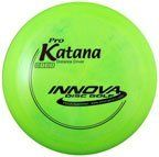 Innova Pro Katana Disc Golf Driver by Innova. $9.90. The Innova Katana can elevate anyone's disc golf game, offering improved distance for less powerful players, and crazy turnover distance for powerful players. Recommended downwind driver. Hit the angle right and watch this disc bolt out of sight. The physical characteristics resemble the Innova Boss with the flight characteristics of a Sidewinder on steroids.