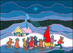 Ted Harrison, Nicky's Kindergarten Walk. Some people say Harrison's colors are exaggerated and not believable. However, having lived in the Yukon - where he created most of his art- I think his colors and compositions reflect the very special beauty of the North, and particularly the Yukon. I love his work!