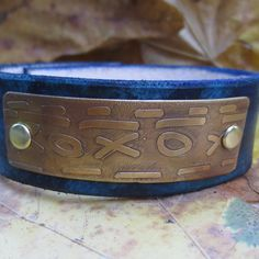 Leather Cuff Bracelet with X and O Etched Metal  by WhyitsmeDesign, $50.00